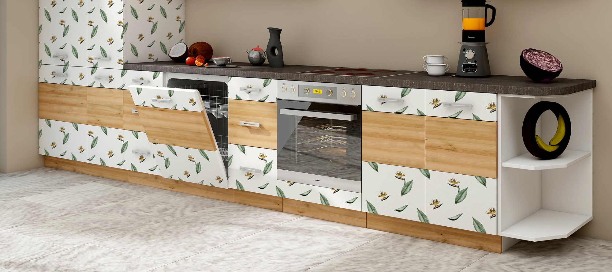 D'infinity, Oxy Grün Floral Laminates For Kitchen-Sundek International